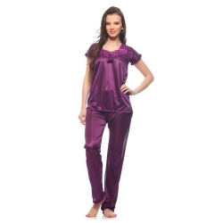 Littledesire Satin Lace Plain Nightwear Suit