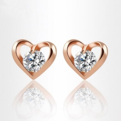 Heart Crystal Gold Finish Earrings