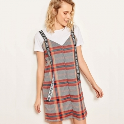 Littledesire Check Plaid Cotton Dress