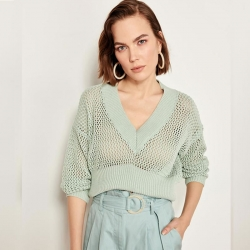 Littledesire V-Neck Acrylic Cotton Sweater