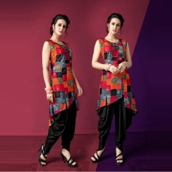 Littledesire Printed Up Down Stylish Kurti With Dhoti Salwar