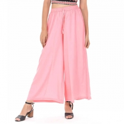 Littledesire Light Pink Straight Palazzo With Side Pocket