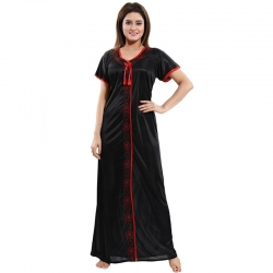 Littledesire Black And Red Solid Pattern With Lace  Nightwear