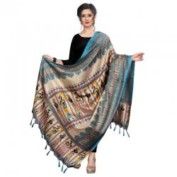 Littledesire Warli Print Khadi Silk Stole