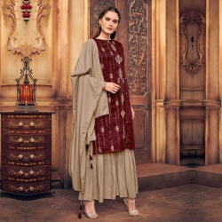Littledesire Embroidered Silk Kurta With Sharara & Dupatta