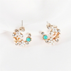Littledesire Colorful Flowers Rhinestone Stud Earrings