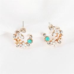 Littledesire Colorful Flowers Rhinestone Stud Earrings