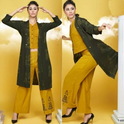 Littledesire Mustard Crop Top With Bottom & Printed Shrug Kurta