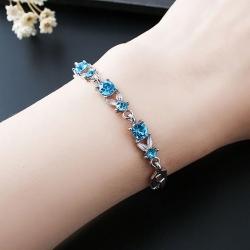 Littledesire Leaf Chain Crystal Rhinestone Round Bracelet