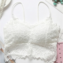 Embroidered Floral Lace Full  Padded Crop Bralette Top