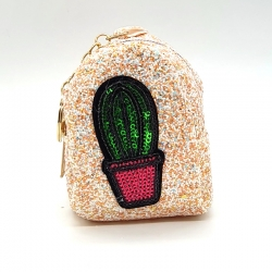 Sequins Small Coin Purse Wallet With Keychain 4 inch