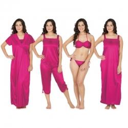 Littledesire Lace Red 6 pcs Satin Nightwear