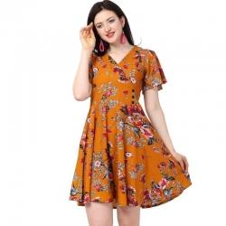 Floral Print V-Neck Flare Dress