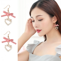 Heart Shape Bow Stylish Pearl Earrings
