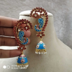 Peacock Multi Stone Ear Jhumka Earrings