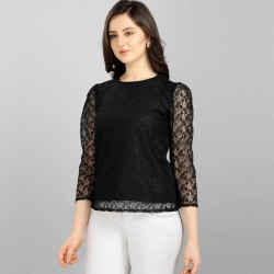 Black Round Neck High Quality Fashion Lace Top
