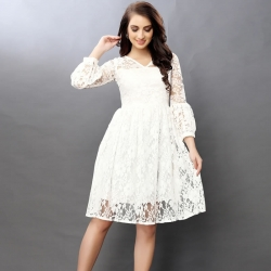 Bell Sleeves Lace Design Party Wear White Dress