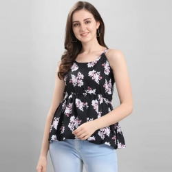 Black Floral Printed Crepe Round Neck Top