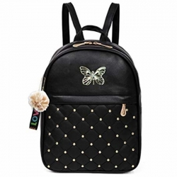 Pom-Pom Fur Ball Stylish PU Leather Black Backpack