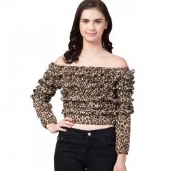 Leopard Print Off Shoulder Ruffle Crop Top