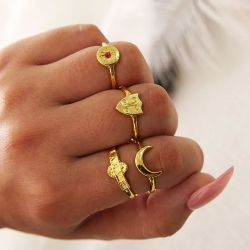 4Pcs/Set Punk Sun Moon Letter Crystal Gem Irregular Rings