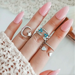 6 Pcs/ Set Fashion Star Moon Heart Flower Silver Rings