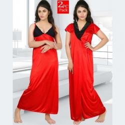 Women Gauge Soft Silky Satin Nighty - 2 pcs