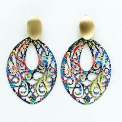 Multicolored Hand Painted Metal Hoop Earrings