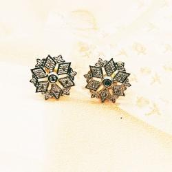 Silver Zircon Flower Earrings