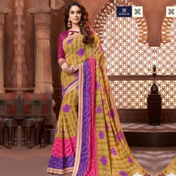 Bandhani Printed Gerogette Saree With Blouse