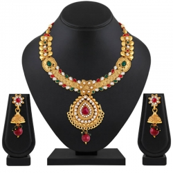 Classic Gold Plated Kundan Choker Necklace Set