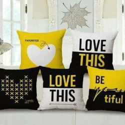 Letter Printed Decorative Throw Pillow Covers 16 x 16 inch Pack of 5