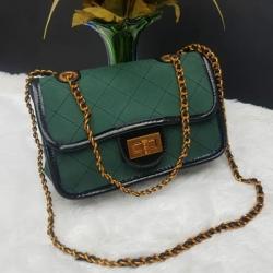 Stylish Checked Velvet Cross body Shoulder Bag