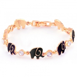 Crystal Black White Elephant Bracelet