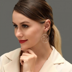 Creative Design World Map Round Hollow Earrings
