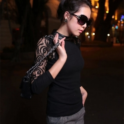 Designer Knitted O-Neck Lace Sleeve Pullovers