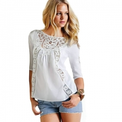 Lace O-Neck Chiffon Long Sleeve Loose Casual Top
