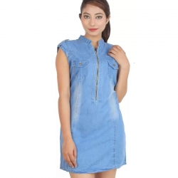 Denim High Neck Mini Dress For Girls