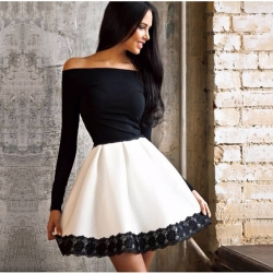 Off Shoulder Lace Patchwork Slash neck Tunic Dress