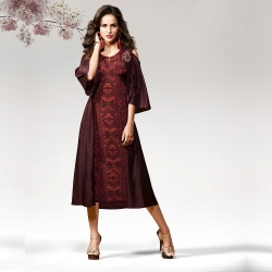 Printed Panelled Layered Silk Crape Designer Kurta