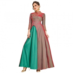 Littledesire Soft Silk Embroidered  Long Kurta