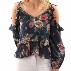 Littledesire Floral Print V-Neck Cold Shoulder Strappy Top