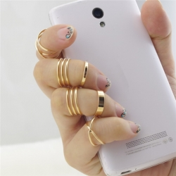 6pcs/ lot Fashion Punk Gold Plated Stackable Midi Ring
