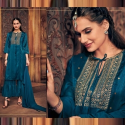 Littledesire Embroidered Stylish Kurta With Sharara & Dupatta