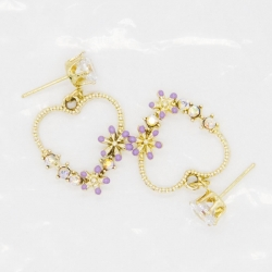 Littledesire Heart Shape Flower Design Earrings