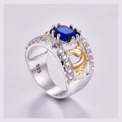 Littledesire Anel Sea Royal Blue CZ Silver 925 Ring