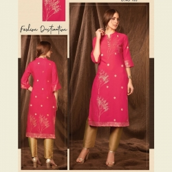 Littledesire Foil Print Pink Kurta With Pant