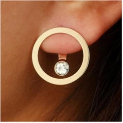 Geometric Circle Gold Color Stud Earrings