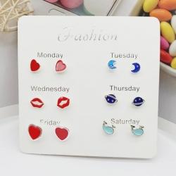 Hearts Lips Earth Moon Stud Cute Earrings 6 pcs Set