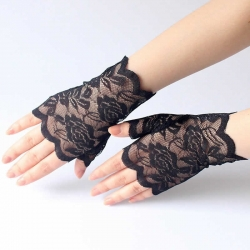 Floral Lace Half Finger Dancing Party Birthday Gloves